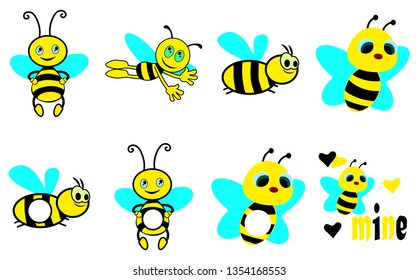 Set of colorful bees