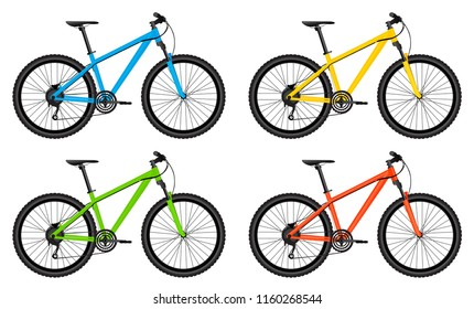 Set of colorful bicycle vector