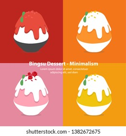 set of colorful bingsu illustration vector