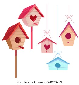 Set of colorful bird houses isolated on white background. Cute cartoon style. Vector illustration.