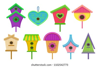 Set of colorful birdhouses. Nesting boxes for birds. Decorative flat vector elements for posters, postcards or banners
