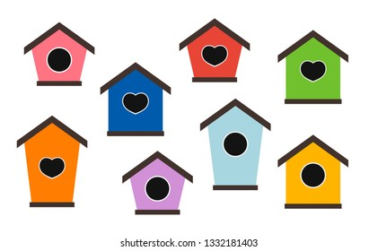 Set of colorful birdhouses. Nesting boxes for birds. Decorative flat vector elements for posters, postcards and banners