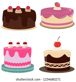 Set of colorful birthday cakes.Cakes icons collection. Different types of beautiful modern cakes, such as chocolate cake, Napoleon cake, tiramisu and cheesecake. Isolated on white.