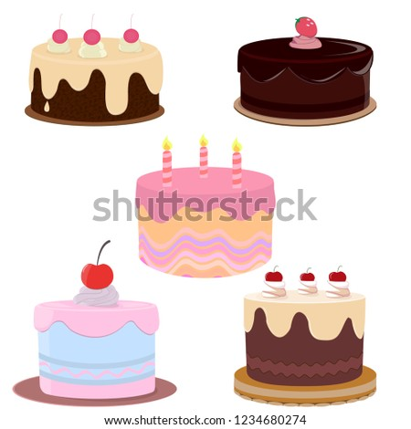 Set Of Colorful Birthday CakesCakes Icons Collection Different Types Beautiful Modern Cakes