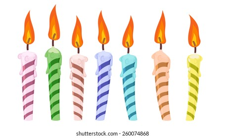 set of colorful birthday candles. vector illustration