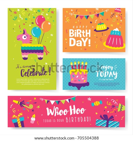Set Colorful Birthday Cards Design Stock Vector Royalty Free