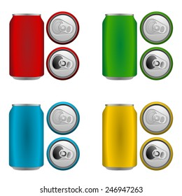 Set of colorful blank aluminium cans in blue, green, yellow and red color. Side and top view, open and closed. Bird's eye view - from above. Vector art image illustration, isolated on white background