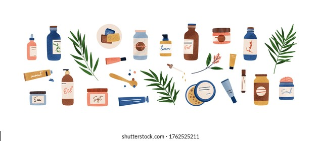 Set of colorful bottles, jars and tubes with organic cosmetics vector flat illustration. Collection of flowers, leaves and skincare products isolated on white. Natural eco friendly composition