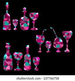 Set of colorful  bottles, stemware, decanters and wine glass - vector