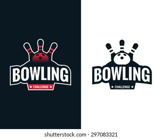 Set of colorful bowling logo labels. Vector illustration.