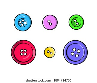 A set of colorful bright buttons of different sizes. Isolated on a white background.
