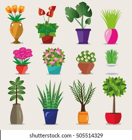Set of colorful bright flowerpots for house.  Vector illustration isolated. Collection of modern flower pots and vases.