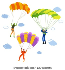 Set of colorful bright parachutists in the sky. Parachuting or skydiving in cartoon style.