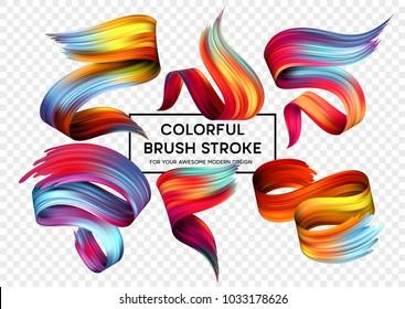 Set of colorful brush strokes. Modern design element. Vector illustration