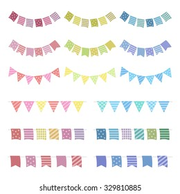Set of colorful buntings garlands / vector eps10