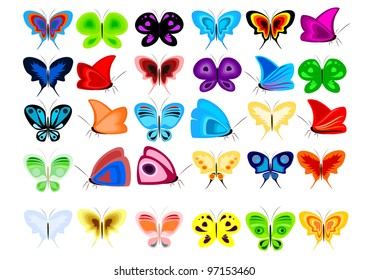 A set of colorful butterflies in the vector.