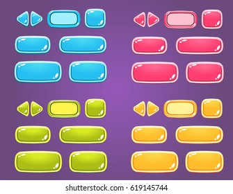 Set of colorful buttons for game. Vector illustration.