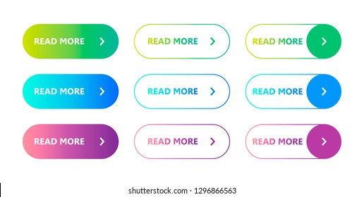 Set of colorful buttons Read More. Vector illustration on a white background. Flat button. Read more on a trendy gradient. Web element