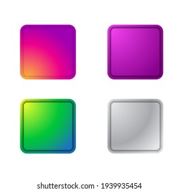 Set of Colorful Buttons for website application and another purposes easy editable color changes
