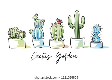 Set of colorful cactus plants in garden pottery with hand written font. Hand drawn doodle sketch vector illustration.