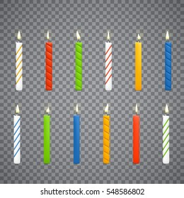 Set of colorful candles on transparent background. Candle flame.