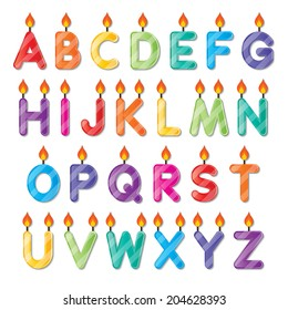 set of colorful capital alphabet letters A to Z candles. vector.