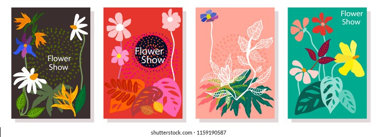 Set of colorful cards with leaves, flowers and other botanical elements. Modern design for posters, covers, flyers. Brown, red, pink, green.