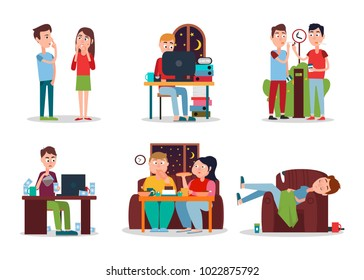 Set of Colorful cards with people with bad habits, vector illustration, eating and working at night men and woman, smoking and addicted to coffee