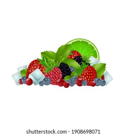 Set of colorful cartoon berries: blueberry, blackberry, raspberry, strawberry, cranberry, mint leaves and ice cubes. Vector illustration, isolated on white