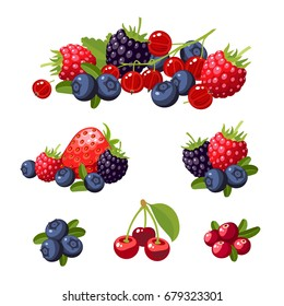 Set of colorful cartoon berries: blueberry, blackberry, cherry, raspberry, red currant, strawberry. Vector flat icon illustration, isolated on white
