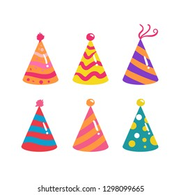 set of colorful cartoon birthday hat cap for celebration party. flat design style. vector