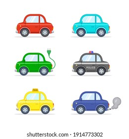 Set of colorful cartoon cars, Vector isolated illustration.