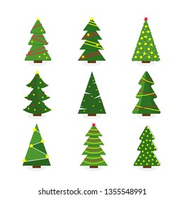 Set of colorful cartoon Christmas tree. Modern different flat design. Vector illustration.