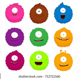 Set of colorful cartoon comic round fluffy cute monsters. Vector illustration, isolated icons on white background.