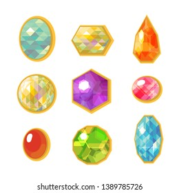 Set of colorful cartoon crystals and gemstones