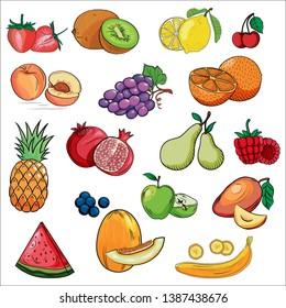 Set of colorful cartoon fruit icons: orange, peach, plum, banana, watermelon, pineapple, papaya, grapes, cherry, kiwi, ango, apple, pear, Hand drawn fresh food design elements