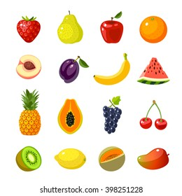 Set of colorful cartoon fruit icons: apple, pear, strawberry, orange, peach, plum, banana, watermelon, pineapple, papaya, grapes, cherry, kiwi, lemon, mango. Vector illustration, isolated on white.