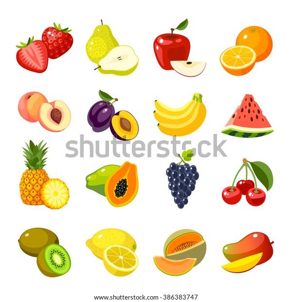 Vetor Stock De Conjunto De Icones Coloridos De Frutas Livre De