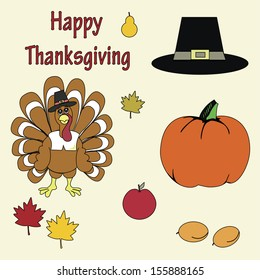Set of colorful cartoon icons for thanksgiving day