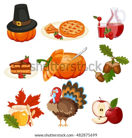 set colorful cartoon icons thanksgiving day stock vector royalty
