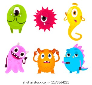 Set of colorful cartoon monsters.