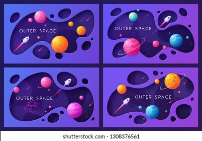 Set of colorful cartoon outer space backgrounds, designs, banners, artworks. Vector illustration.