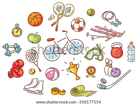 set colorful cartoon sport things stock vector royalty free