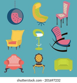 Set of colorful chairs interior detail. Vector illustration