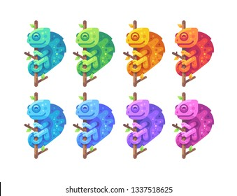 Set of colorful chameleons sitting on branches flat illustration