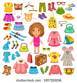 Set of colorful children clothes and accessories for travel and relax. Vector elements.