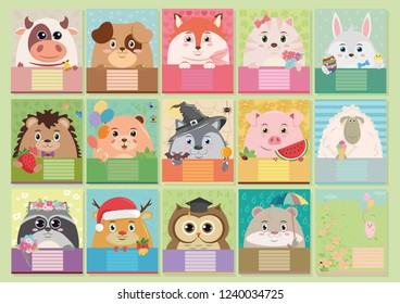 Set of colorful children's covers for notebooks with animals.