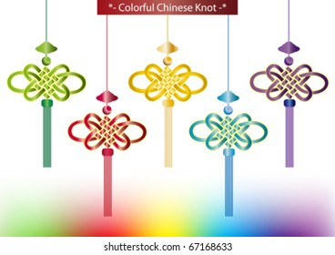 Set of colorful Chinese knots.