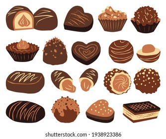 Set of colorful chocolates from boxes for the holidays, valentine's day, lunch or coffee break.  Vector illustration in color.