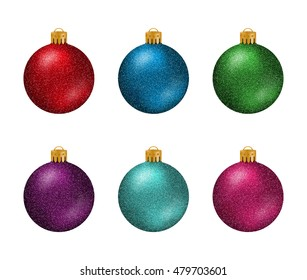 Set of colorful Christmas balls or baubles with glitter texture isolated on white background.
